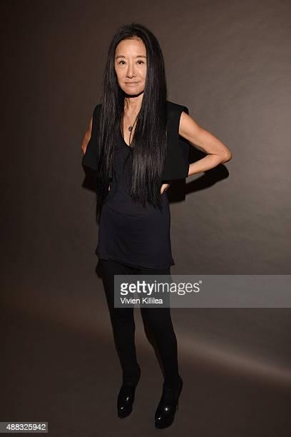 Designer Vera Wang poses backstage at Vera Wang Spring 2016 during New York Fashion Week at Cedar Lake on September 15, 2015 in New York City.