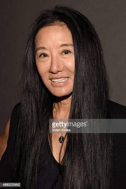 Designer Vera Wang poses backstage at Vera Wang Spring 2016 during New York Fashion Week at Cedar Lake on September 15 2015 in New York City