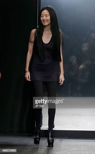 Designer Vera Wang poses on the runway at her Spring 2016 fashion show during New York Fashion Week at Cedar Lake on September 15 2015 in New York...