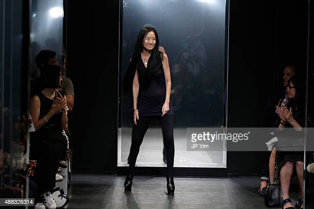 Designer Vera Wang walks the runway at her Spring 2016 fashion show during New York Fashion Week at Cedar Lake on September 15 2015 in New York City