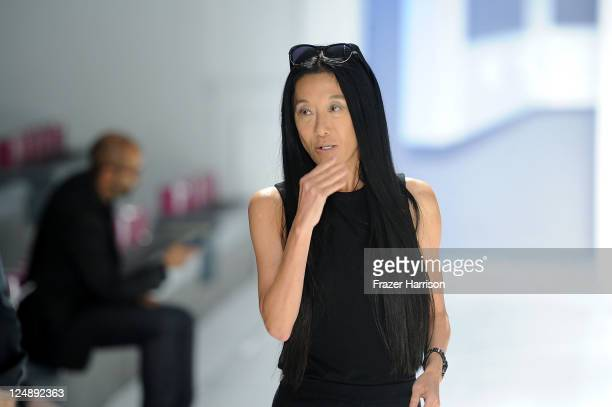 Designer Vera Wang walks the runway at the Vera Wang Spring 2012 fashion show during Mercedes-Benz Fashion Week at The Stage at Lincoln Center on...
