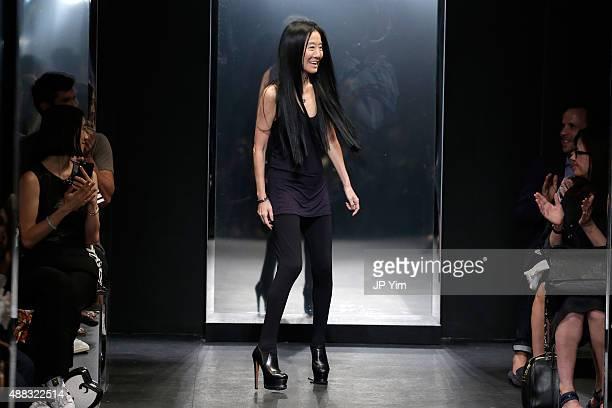 Designer Vera Wang walks the runway wearing Vera Wang Spring 2016 during New York Fashion Week at Cedar Lake on September 15 2015 in New York City