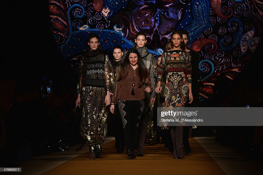 Designer Veronica Etro acknowledges the applause of the audience during the Etro show as part of Milan Fashion Week Womenswear Autumn/Winter 2014 on February 21, 2014 in Milan, Italy.