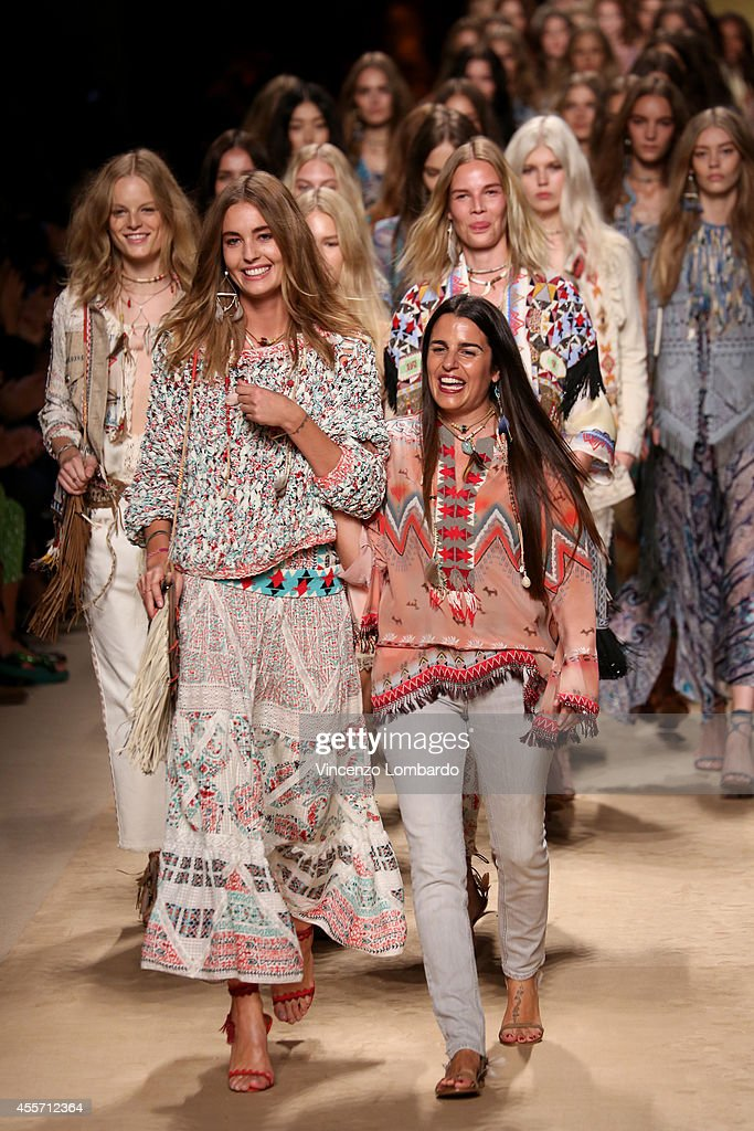 Designer Veronica Etro and Models acknowledges the applause of the audience after model walks the runway during the Etro show as a part of Milan Fashion Week Womenswear Spring/Summer 2015 on September 19, 2014 in Milan, Italy.
