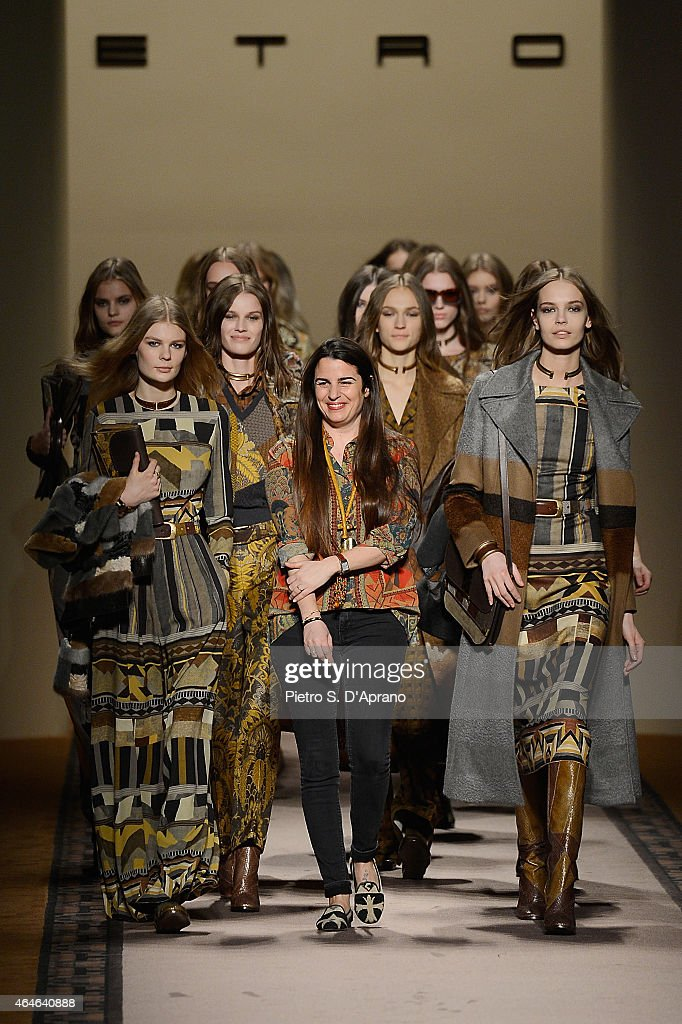 Designer Veronica Etro (C) walks the runway with models at the end of the Etro show during the Milan Fashion Week Autumn/Winter 2015 on February 27, 2015 in Milan, Italy.