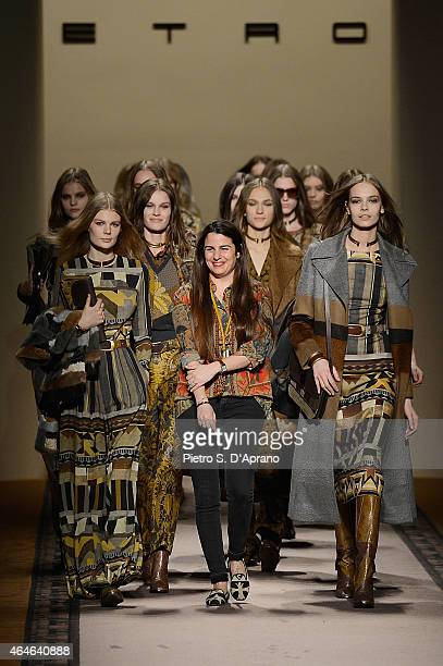 Designer Veronica Etro walks the runway with models at the end of the Etro show during the Milan Fashion Week Autumn/Winter 2015 on February 27 2015...