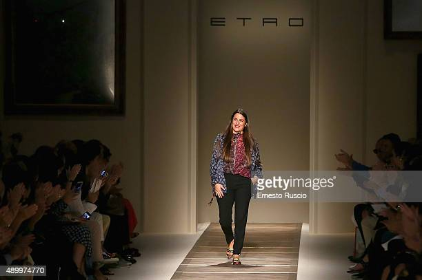 Designer Veronica Retro walks the runway during the Etro fashion show as part of Milan Fashion Week Spring/Summer 2016 on September 25 2015 in Milan...