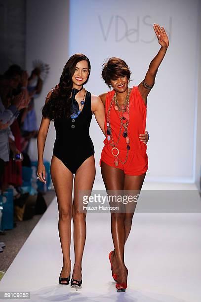 Designer Veronique de la Cruz and a model walk the runway at the V Del Sol 2010 fashion show during MercedesBenz Fashion Week Swim at the Cabana...