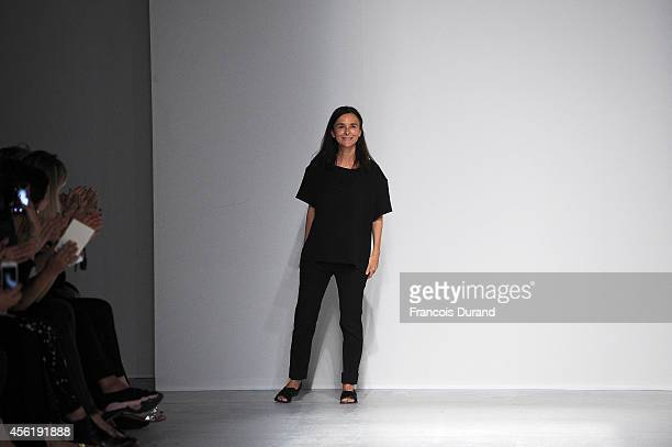 Designer Veronique Le Roy appears at the end of the Veronique Leroy show as part of the Paris Fashion Week Womenswear Spring/Summer 2015 on September...