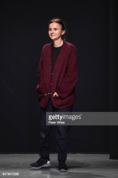 Designer Veronique Leroy is seen on the runway during the Veronique Leroy show as part of the Paris Fashion Week Womenswear Fall/Winter 2017/2018 on...