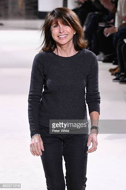 Designer Veronique Nichanian walks the runway after the Hermes Menswear Fall/Winter 20172018 show as part of Paris Fashion Week on January 21 2017 in...