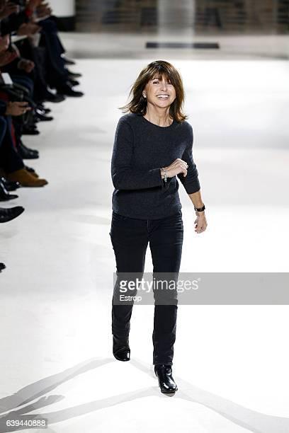 Designer Veronique Nichanian walks the runway during the Hermes designed by Veronique Nichanian Menswear Fall/Winter 20172018 show as part of Paris...