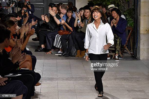 Designer Veronique Nichanian walks the runway during the Hermes Ready to Wear Menswear Spring/Summer 2016 show as part of Paris Fashion Week on June...