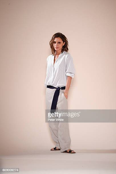 Designer Victoria Beckham acknowledges the applause of the audience after the Victoria Beckham Women's Fashion Show during New York Fashion Week on...