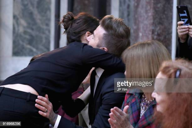 Designer Victoria Beckham and David Beckham attend the Victoria Beckham fashion show February 2018 during New York Fashion Week on February 11 2018...