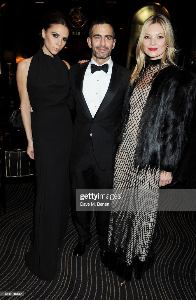 Designer Victoria Beckham, Marc Jacobs and model Kate Moss attend a drinks reception at the British Fashion Awards 2011 held at The Savoy Hotel on November 28, 2011 in London, England.