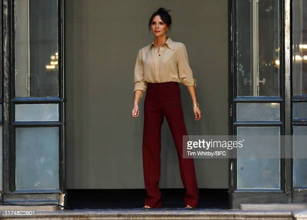 Designer Victoria Beckham on runway at the Victoria Beckham show during London Fashion Week September 2019 at the British Foreign and Commonwealth...