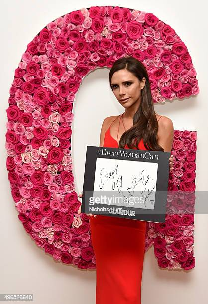Designer Victoria Beckham poses for a photo at the backstage inspiration wall at the 2015 Glamour Women of the Year Awards at Carnegie Hall on...