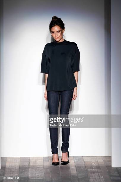 Designer Victoria Beckham walks the runway at the Victoria Beckham Fall 2013 fashion show presentation during MercedesBenz Fashion Week at New York...