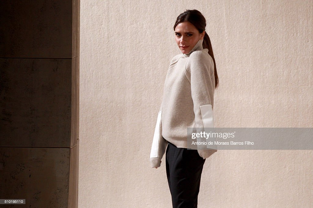 Designer Victoria Beckham walks the runway at Victoria Beckham Fall 2016 during New York Fashion Week at The Cunard Building on February 14, 2016 in New York City.