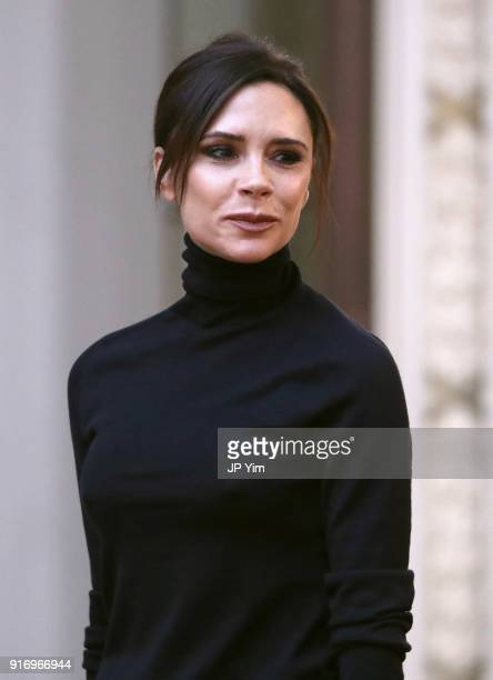 Designer Victoria Beckham walks the runway at Victoria Beckham fashion show February 2018 during New York Fashion Week on February 11 2018 in New...