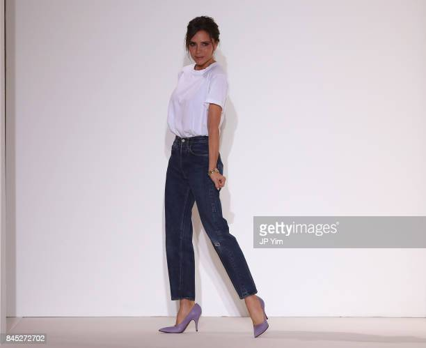 Designer Victoria Beckham walks the runway for Victoria Beckham fashion show during New York Fashion Week The Shows on September 10 2017 in New York...