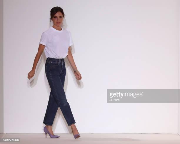 Designer Victoria Beckham walks the runway for Victoria Beckham fashion show during New York Fashion Week The Shows on September 10 2017 in New York...