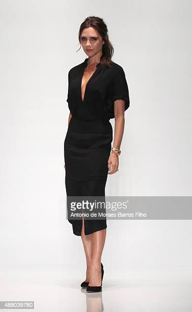Designer Victoria Beckham walks the runway wearing Victoria Beckham Spring 2016 during New York Fashion Week at The Cunard Building on September 13...