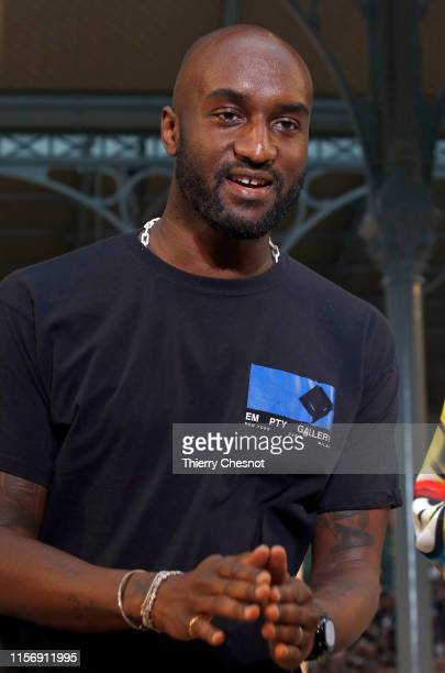 Designer Virgil Abloh acknowledges the audience at the end of the Off-White Menswear Spring Summer 2020 show as part of Paris Fashion Week on June...