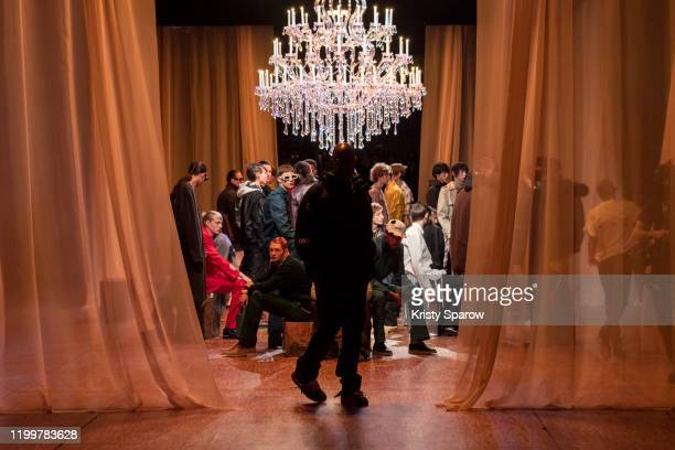 Designer Virgil Abloh acknowledges the audience during the Off-White Menswear Fall/Winter 2020-2021 show as part of Paris Fashion Week on January 15,...