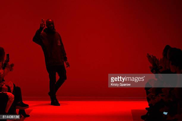 Designer Virgil Abloh acknowledges the audience during the OFF/White show as part of Paris Fashion Week Womenswear Fall/Winter 2016/2017 on March 8...