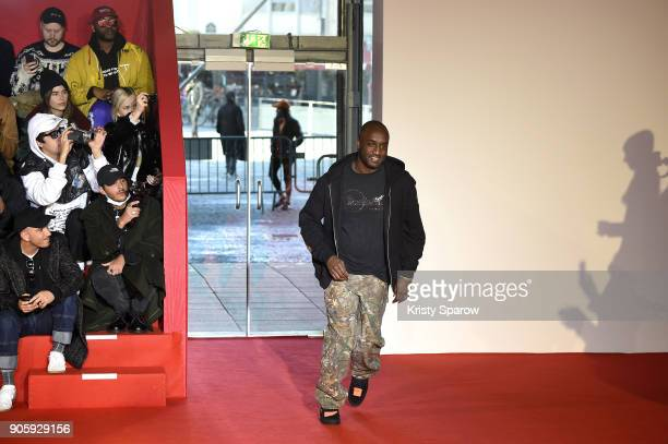 Designer Virgil Abloh acknowledges the audience during the Off/White Menswear Fall/Winter 20182019 show as part of Paris Fashion Week on January 17...