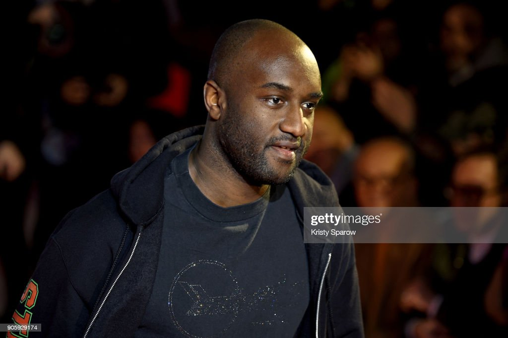 c5cb7abcc20d Designer Virgil Abloh acknowledges the audience during the Off White ...