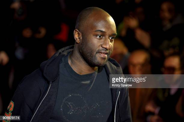 Designer Virgil Abloh acknowledges the audience during the Off/White Menswear Fall/Winter 2018-2019 show as part of Paris Fashion Week on January 17,...