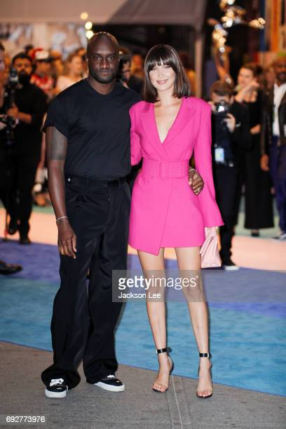 Designer Virgil Abloh and Bella Hadid attends the 2017 CFDA awards arrivals area on June 5 2017 in New York City