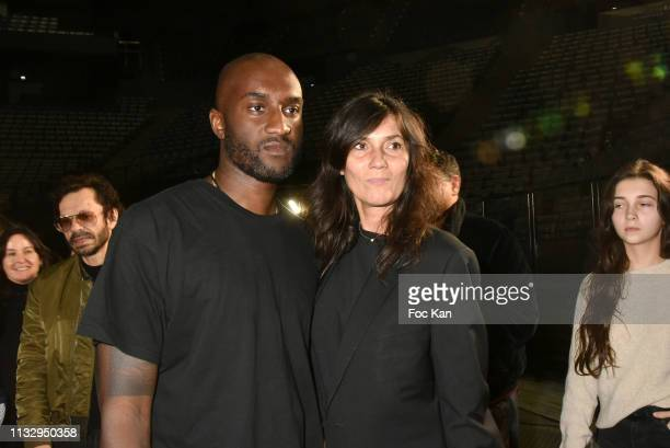 Designer Virgil Abloh and Emmanuelle Alt attend the Off White show as part of the Paris Fashion Week Womenswear Fall/Winter 2019/2020 on February 28...