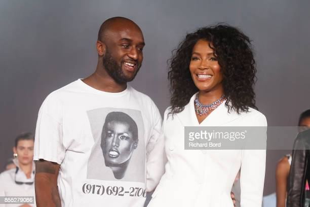 Designer Virgil Abloh and Naomi Campbell acknowledge the audience during the Off/White show as part of Paris Fashion Week Womenswear Spring/Summer...