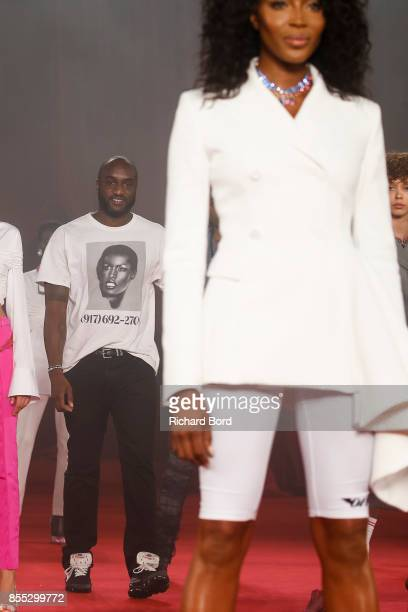 Designer Virgil Abloh and Naomi Campbell walk on the runway during the Off/White show as part of Paris Fashion Week Womenswear Spring/Summer 2018 on...