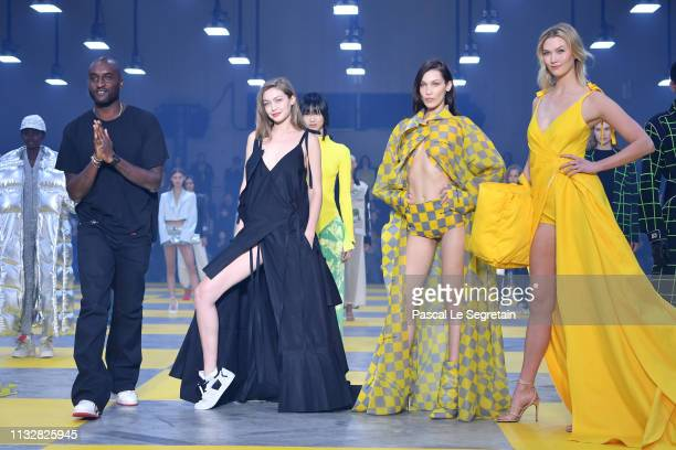 Designer Virgil Abloh, Gigi Hadid, Bella Hadid and Karlie Kloss during the finale of the Off-White show as part of the Paris Fashion Week Womenswear...