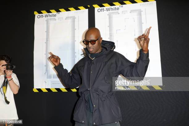 Designer Virgil Abloh poses backstage after the Off-White Menswear Fall/Winter 2020-2021 show as part of Paris Fashion Week on January 15, 2020 in...