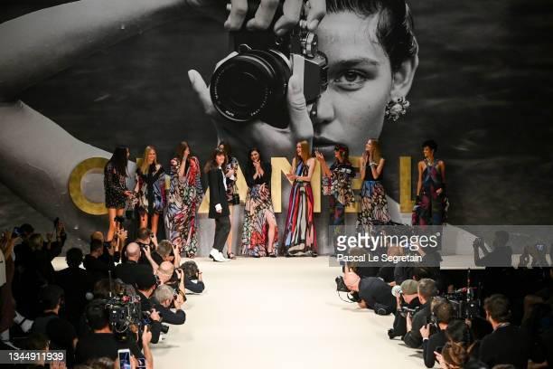 Designer Virginie Viard walks the runway during the Chanel Womenswear Spring/Summer 2022 show as part of Paris Fashion Week on October 05, 2021 in...