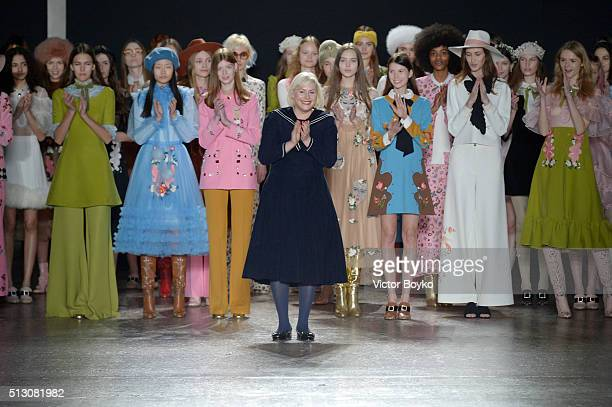 Designer Vivetta Ponti acknowledges the applause of the audience show during Milan Fashion Week Fall/Winter 2016/17 on February 29, 2016 in Milan,...