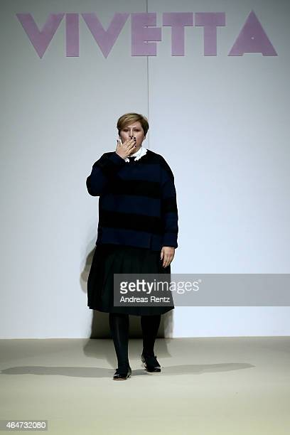 Designer Vivetta Ponti acknowledges the applause of the audience after the Vivetta show during the Milan Fashion Week Autumn/Winter 2015 on February...