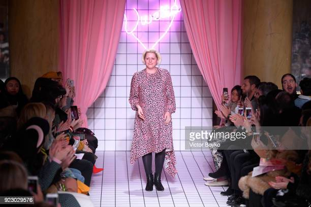 Designer Vivetta Ponti acknowledges the applause of the audience after the Vivetta show during Milan Fashion Week Fall/Winter 2018/19 on February 22,...