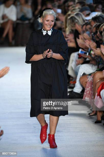 Designer Vivetta Ponti walks the runway at the Vivetta show during Milan Fashion Week Spring/Summer 2018 on September 21, 2017 in Milan, Italy.
