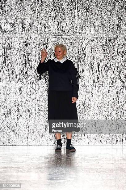 Designer Vivetta Ponti walks the runway at the Vivetta show Milan Fashion Week Spring/Summer 2017 on September 24, 2016 in Milan, Italy.