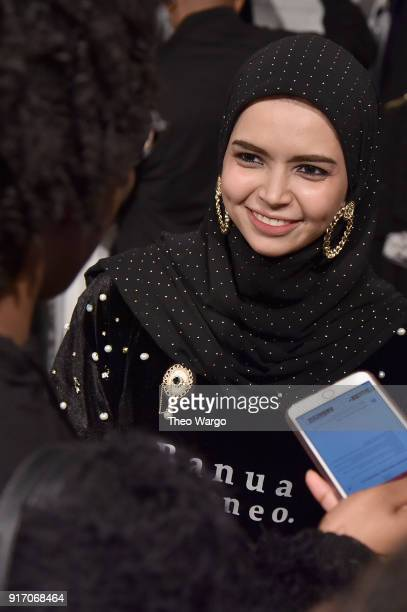 Designer Vivi Zubedi prepares backstage for Vivi Zubedi during New York Fashion Week The Shows at Industria Studios on February 11 2018 in New York...