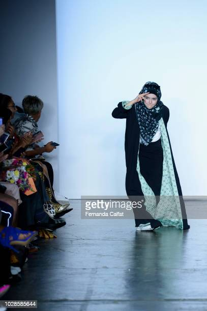 Designer Vivi Zubedi walks the runway during the Indonesian Diversity fashion show during September 2018 New York Fashion Week at Industria Studios...