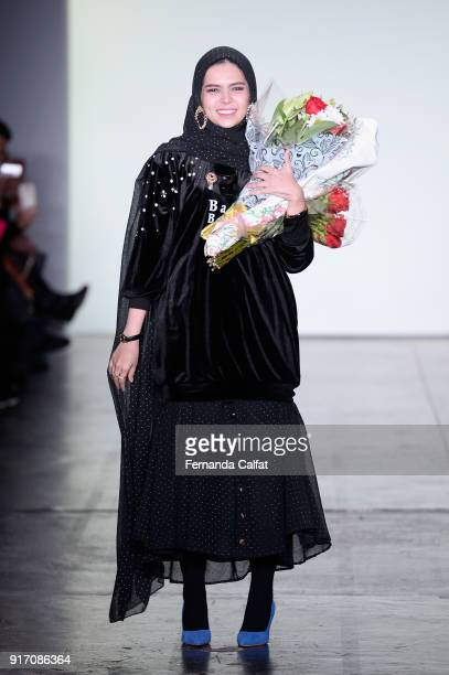Designer Vivi Zubedi walks the runway for Vivi Zubedi during New York Fashion Week The Shows at Industria Studios on February 11 2018 in New York City