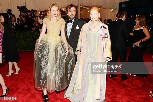"Designer Vivian Westwood and Lily Cole attend the Costume Institute Gala for the ""PUNK: Chaos to Couture"" exhibition at the Metropolitan Museum of..."